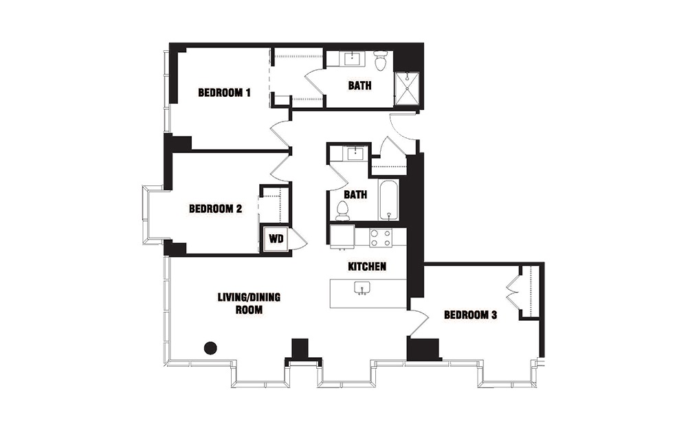 Ink 1 3A - 3 bedroom floorplan layout with 2 baths and 1317 square feet. (2D)