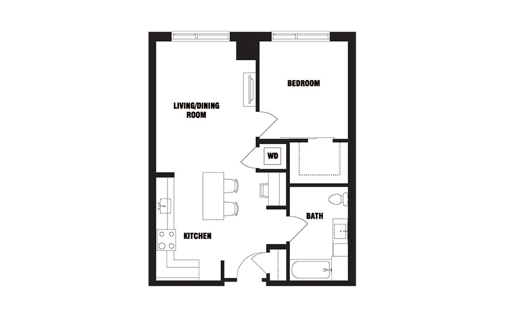 INK 2 1A - 1 bedroom floorplan layout with 1 bath and 716 square feet. (2D)