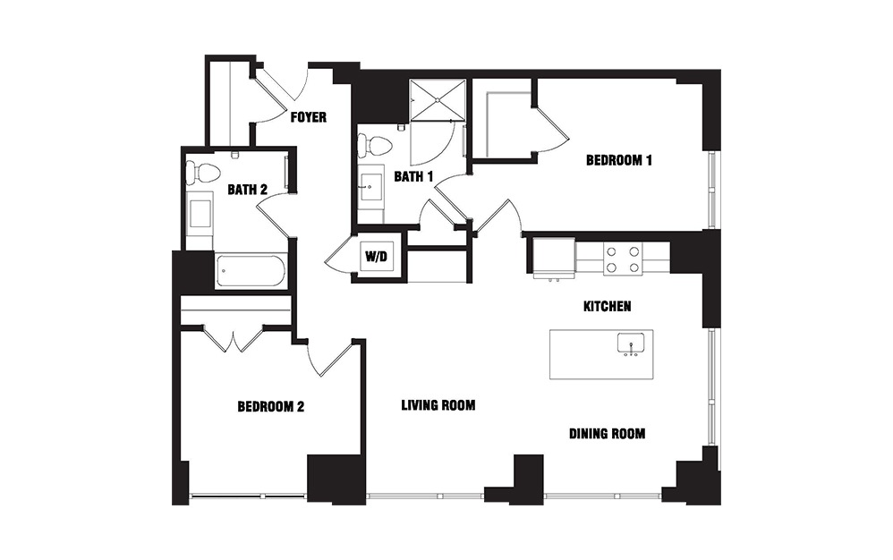 INK 3 2C - 2 bedroom floorplan layout with 2 baths and 1063 square feet. (2D)