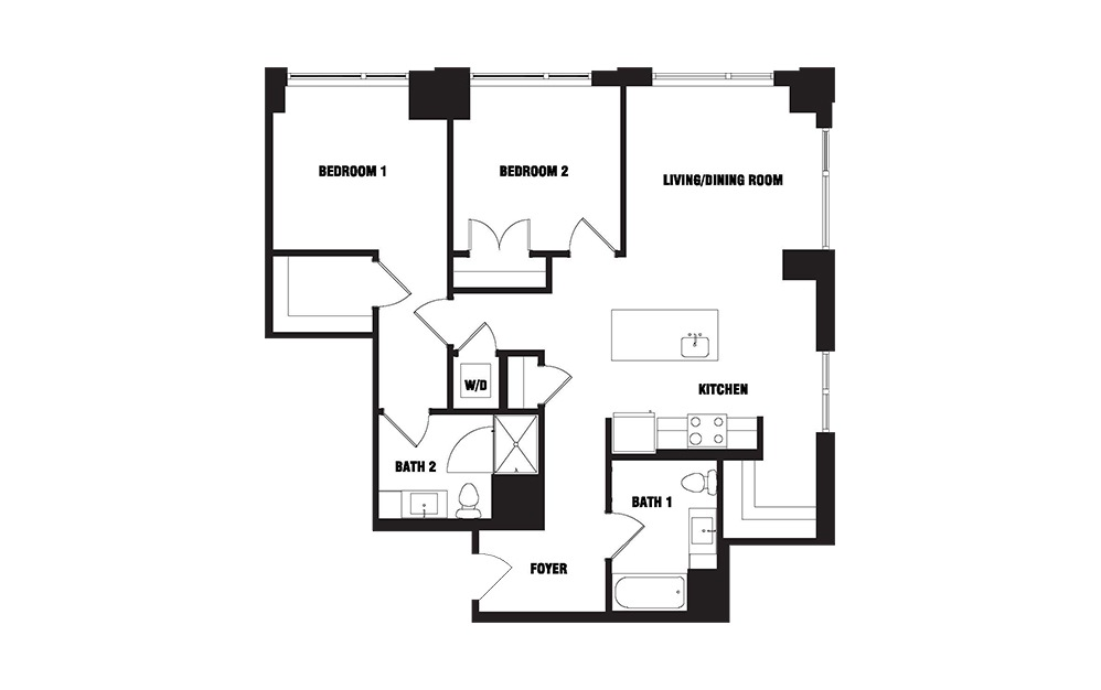 Ink 3 2D - 2 bedroom floorplan layout with 2 baths and 1098 square feet. (2D)