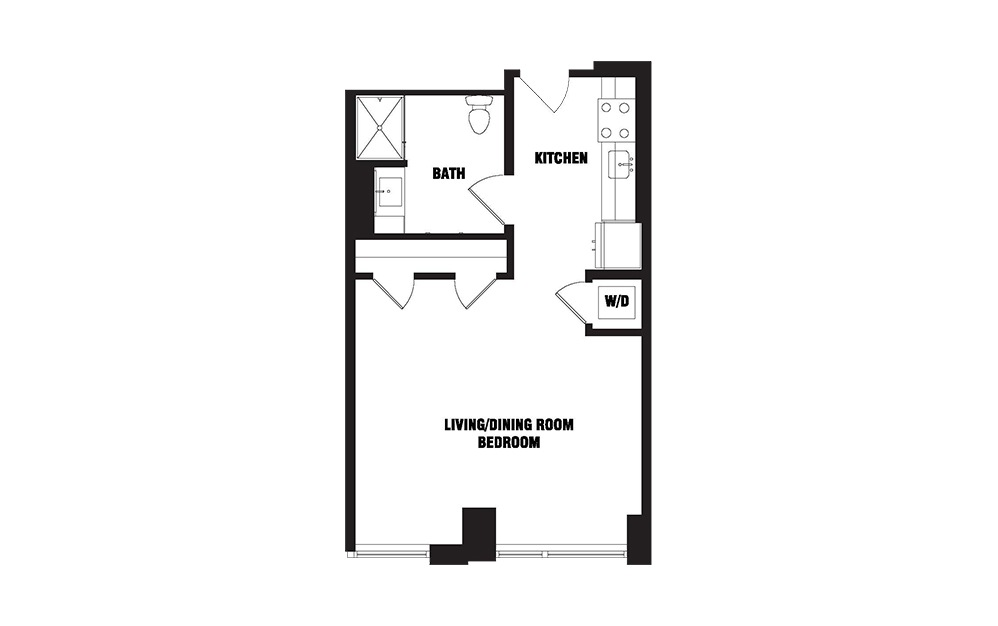 INK 3 STB - Studio floorplan layout with 1 bath and 520 square feet. (2D)