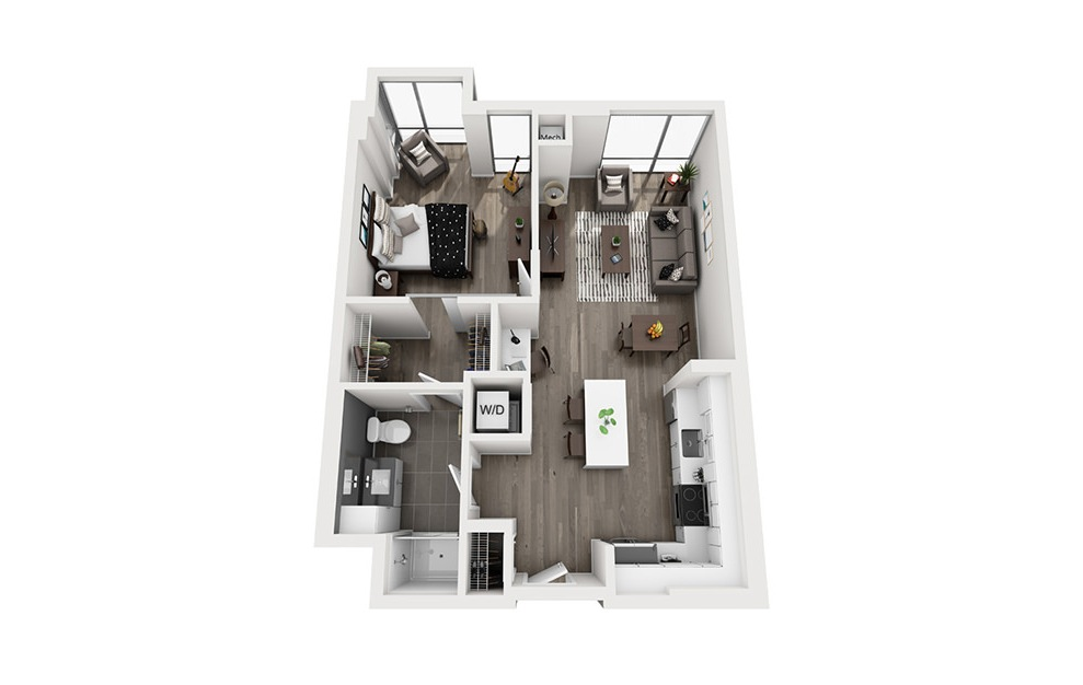 INK 1 1A 1 - 1 bedroom floorplan layout with 1 bath and 737 square feet. (3D)