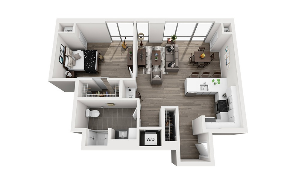 INK 1 1C - 1 bedroom floorplan layout with 1 bath and 850 square feet. (3D)