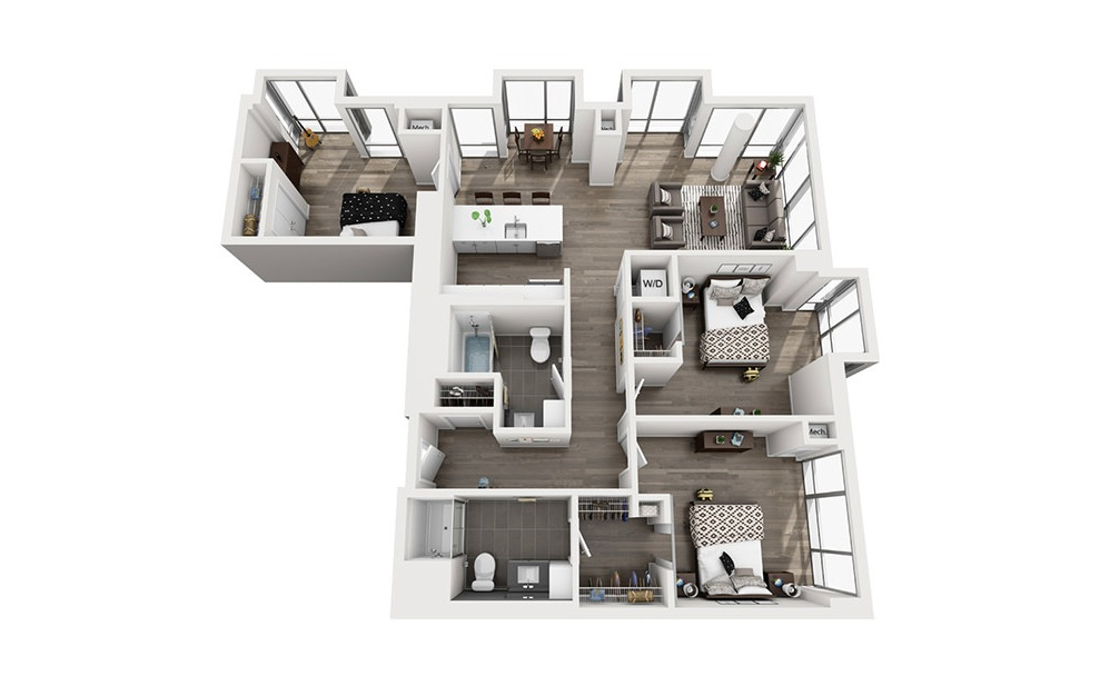 INK 1 3A - 3 bedroom floorplan layout with 2 baths and 1317 square feet. (3D)