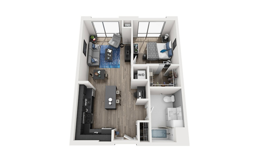 INK 2 1A - 1 bedroom floorplan layout with 1 bath and 716 square feet. (3D)