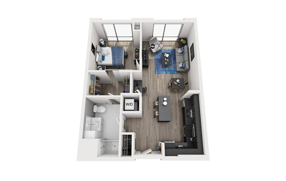 INK 2 1B - 1 bedroom floorplan layout with 1 bath and 711 square feet. (3D)