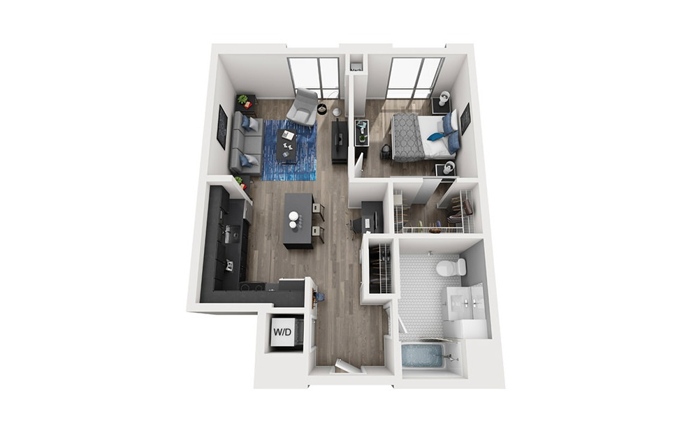 INK 2 1C - 1 bedroom floorplan layout with 1 bath and 685 square feet. (3D)
