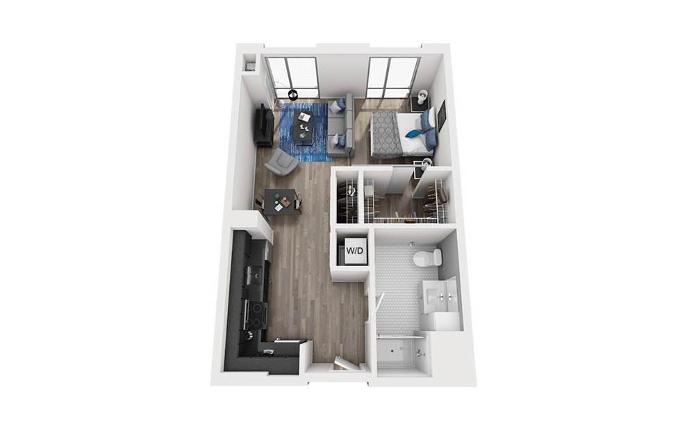 INK 2 STA - Studio floorplan layout with 1 bath and 589 square feet. (3D)