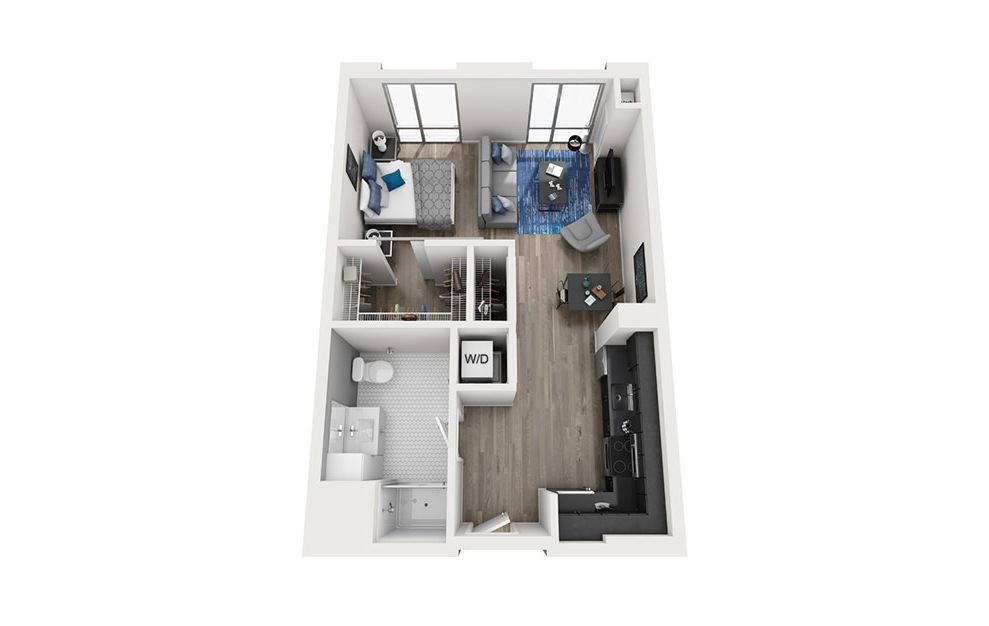 INK 2 STB - Studio floorplan layout with 1 bath and 590 square feet. (3D)
