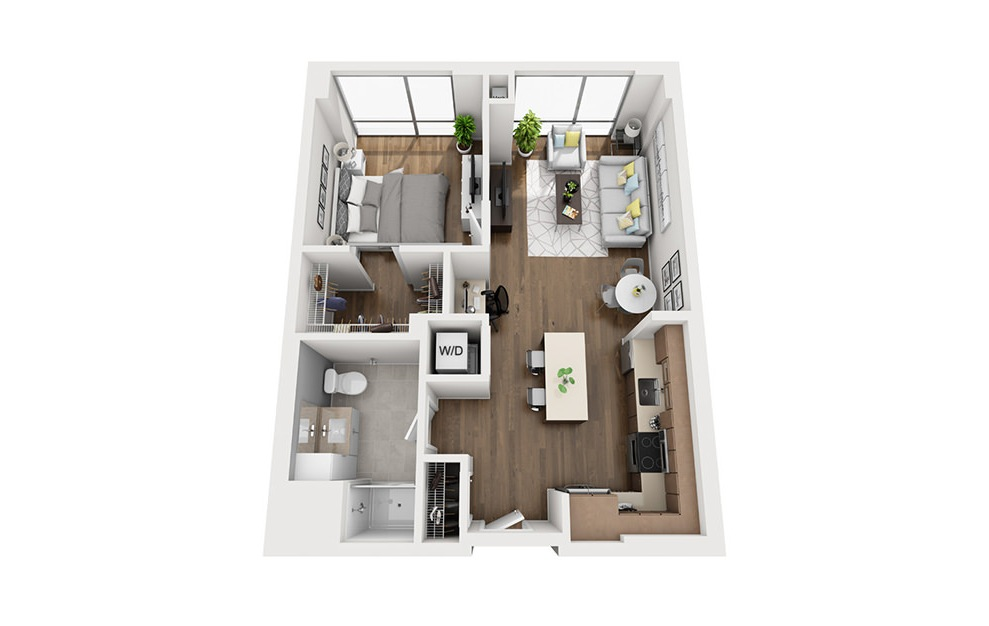 Ink 3 1A - 1 bedroom floorplan layout with 1 bath and 709 square feet. (3D)