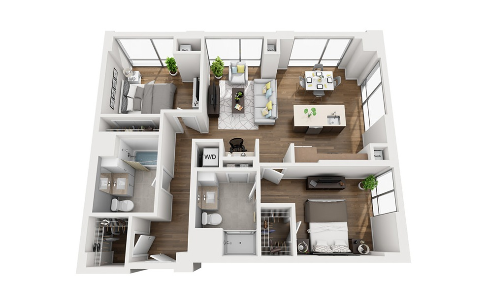 INK 3 2A - 2 bedroom floorplan layout with 2 baths and 1056 square feet. (3D)