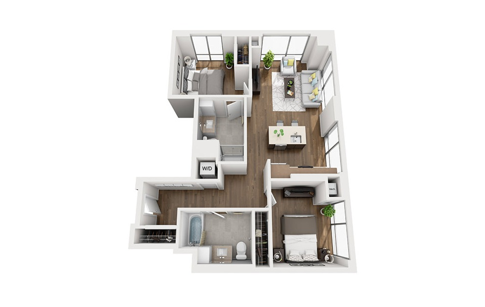 INK 3 2B - 2 bedroom floorplan layout with 2 baths and 929 square feet. (3D)