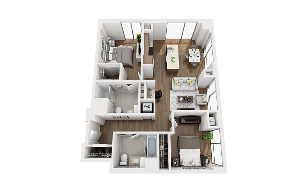 INK 3 2C - 2 bedroom floorplan layout with 2 baths and 1063 square feet. (3D)