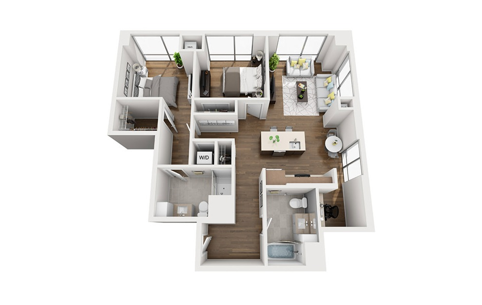 INK 3 2D - 2 bedroom floorplan layout with 2 baths and 1098 square feet. (3D)