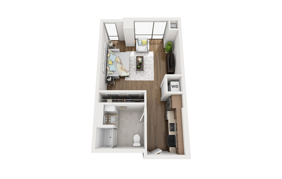 INK 3 STA - Studio floorplan layout with 1 bath and 520 square feet. (3D)
