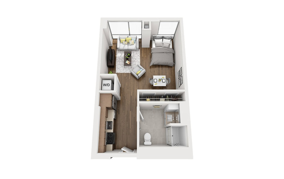 INK 3 STB - Studio floorplan layout with 1 bath and 520 square feet. (3D)