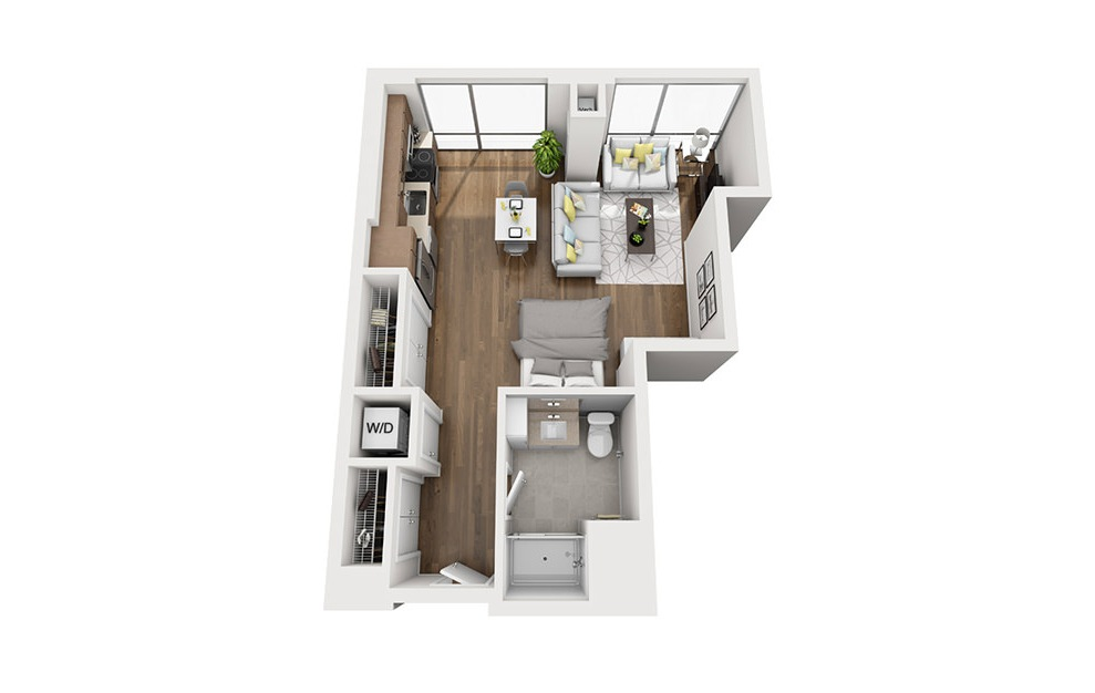 Ink 3 STC - Studio floorplan layout with 1 bath and 546 square feet. (3D)