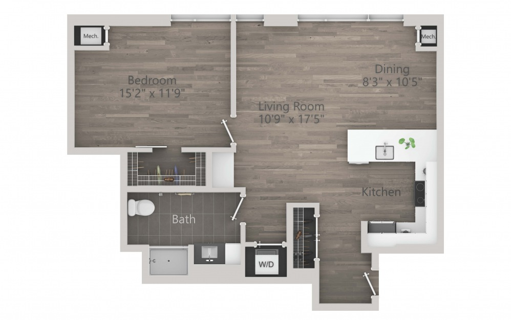 INK 1 1C - 1 bedroom floorplan layout with 1 bath and 850 square feet. (2D)