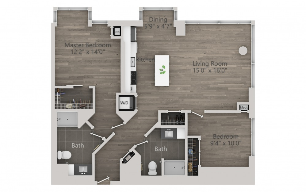 INK 1 2C - 2 bedroom floorplan layout with 2 baths and 1107 square feet.