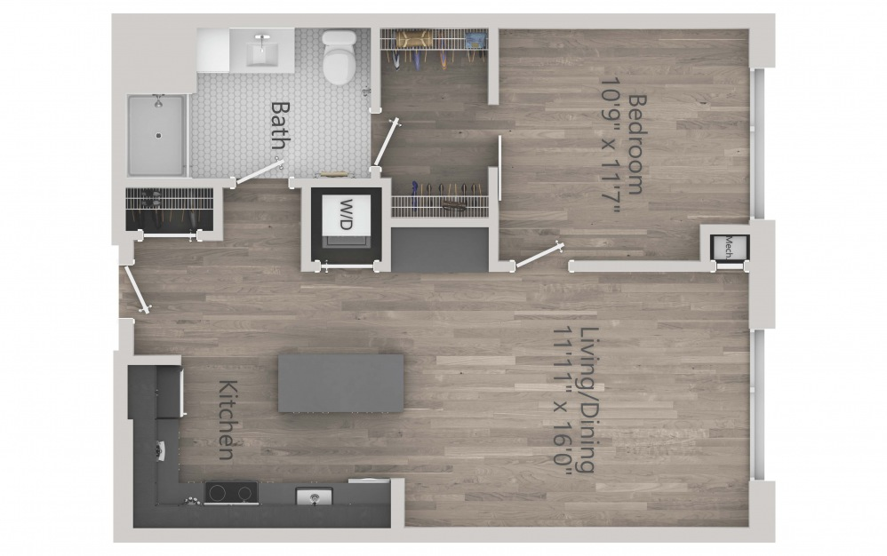 INK 2 1B - 1 bedroom floorplan layout with 1 bath and 711 square feet. (2D)