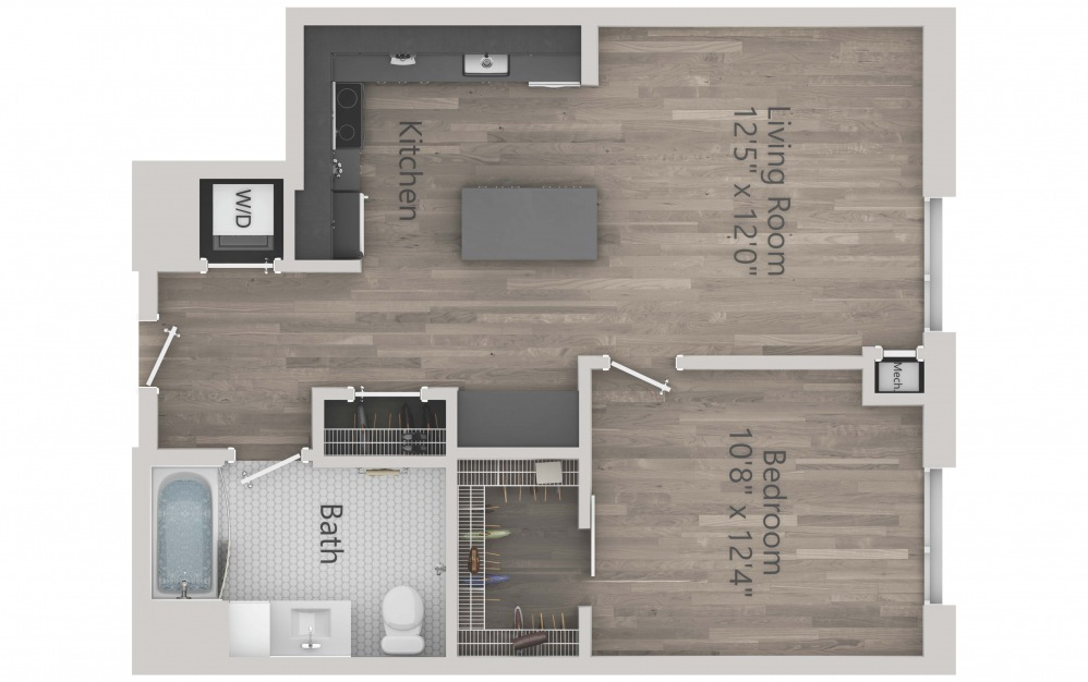 INK 2 1C - 1 bedroom floorplan layout with 1 bath and 685 square feet. (2D)
