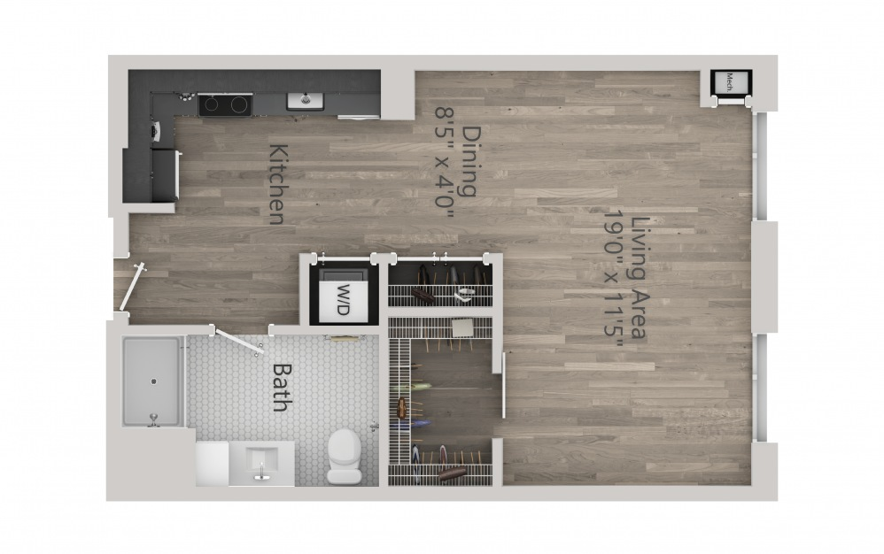 INK 2 STA - Studio floorplan layout with 1 bath and 589 square feet. (2D)
