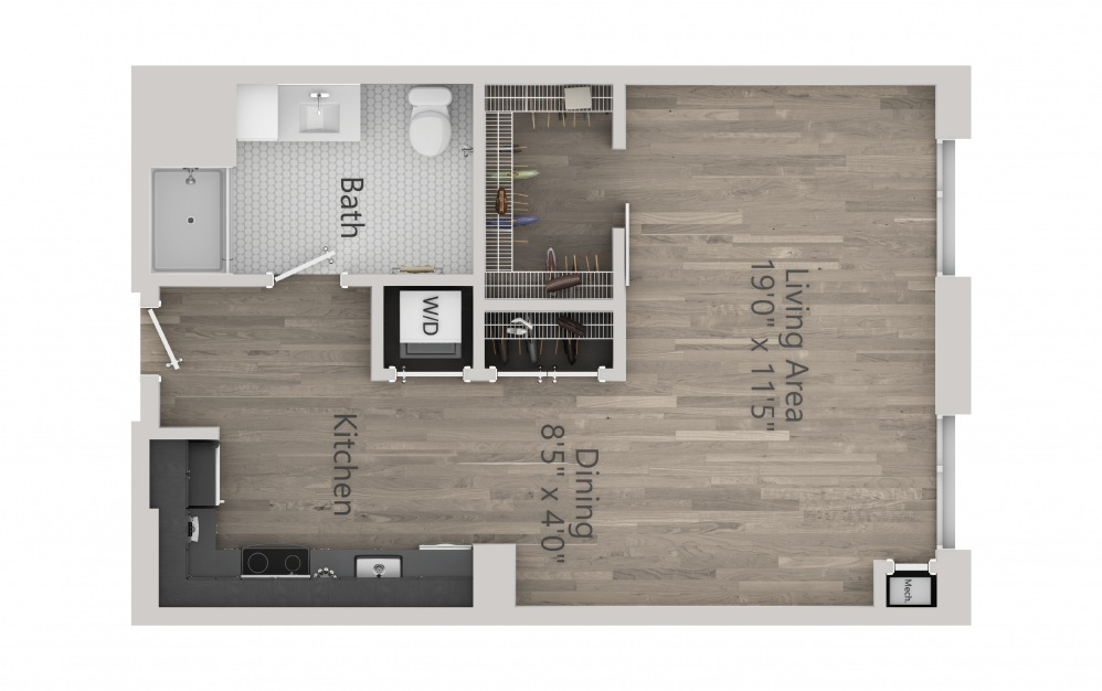 INK 2 STB - Studio floorplan layout with 1 bath and 590 square feet. (2D)