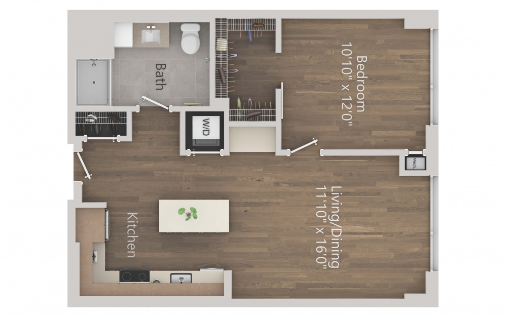 INK 3 1A - 1 bedroom floorplan layout with 1 bath and 709 square feet. (2D)