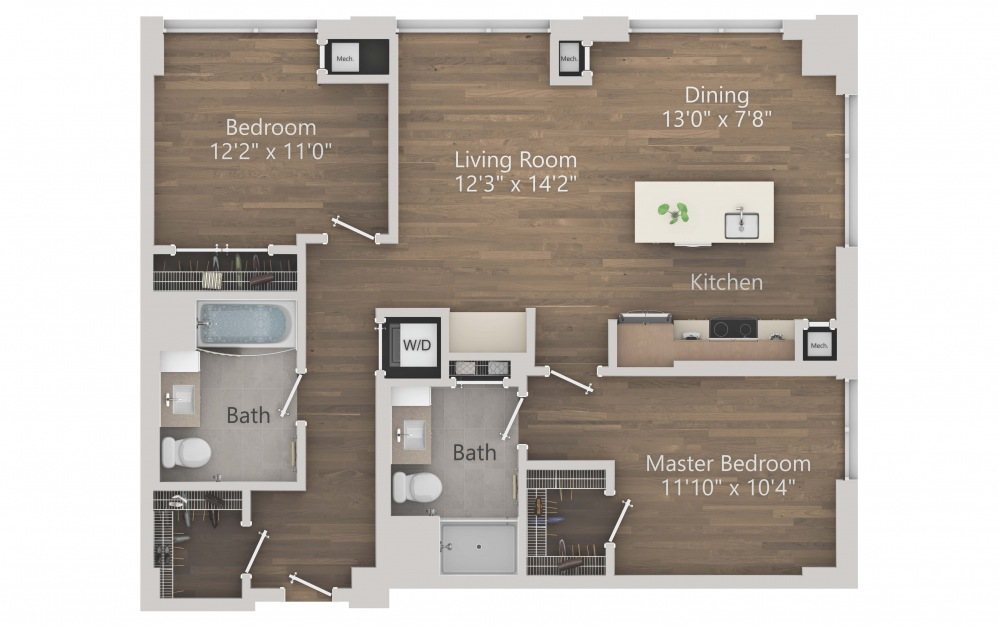 INK 3 2A - 2 bedroom floorplan layout with 2 baths and 1056 square feet. (2D)