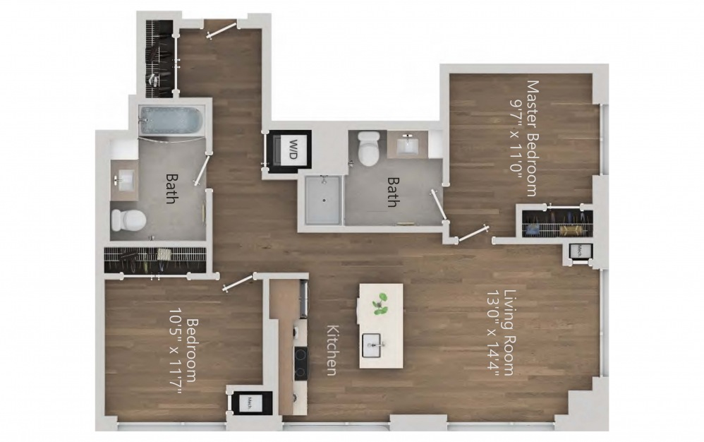 INK 3 2B - 2 bedroom floorplan layout with 2 baths and 929 square feet. (2D)