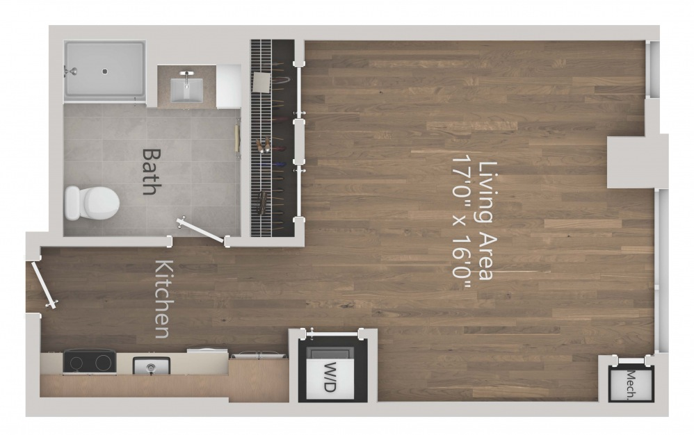 INK 3 STA - Studio floorplan layout with 1 bath and 520 square feet. (2D)