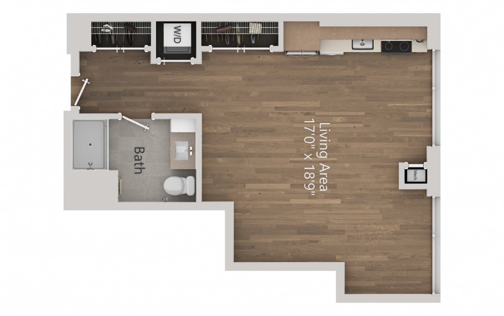 INK 3 STC - Studio floorplan layout with 1 bath and 546 square feet. (2D)