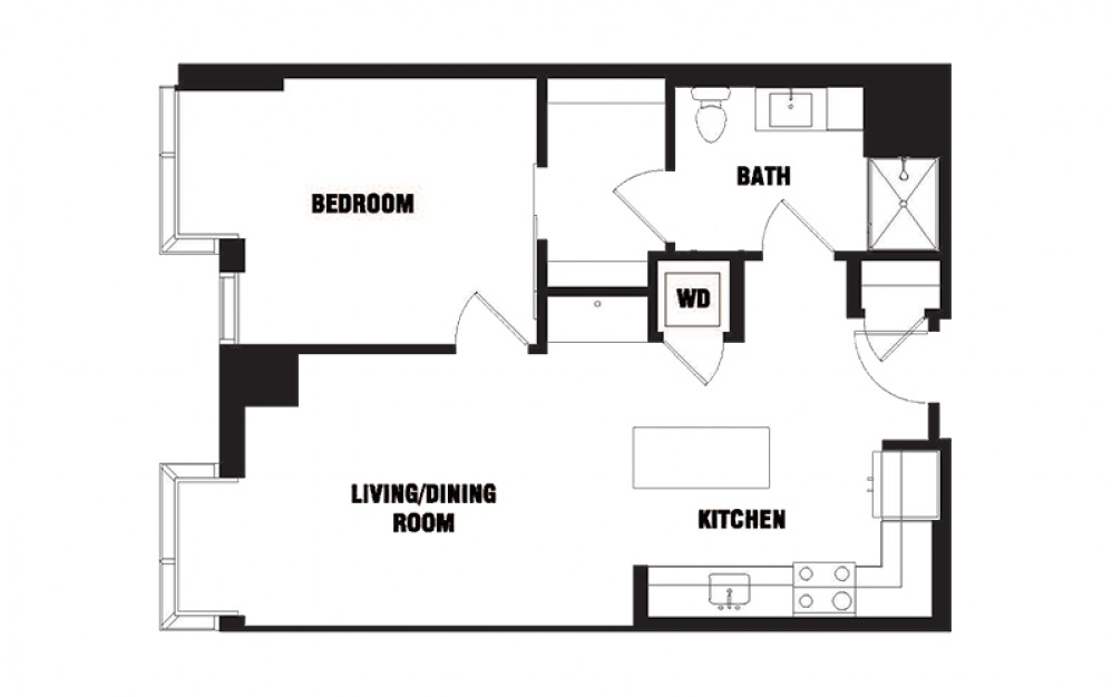 INK 1 1A 1 - 1 bedroom floorplan layout with 1 bath and 737 square feet. (2D)